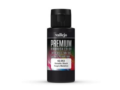 Vallejo Premium AirBrush Color, 62.053, Чёрный металлик, 60 мл