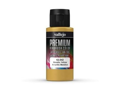 Vallejo Premium AirBrush Color, 62.042, Жёлтый металлик, 60 мл