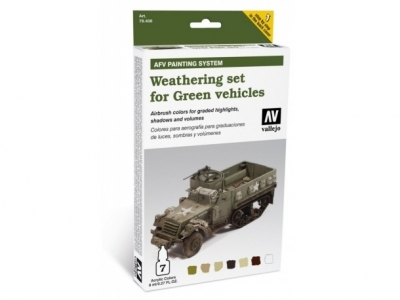 Набор красок Weathering set for Green vehicles для кисти, 78.406