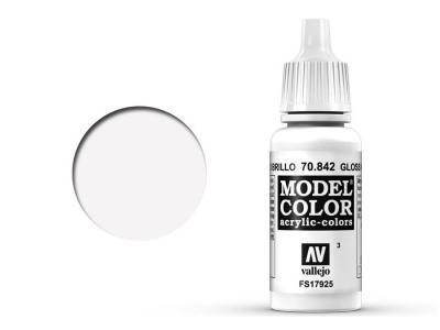 Vallejo Model Color, 70.842, Gloss White, Глянцево-белая, 17 мл