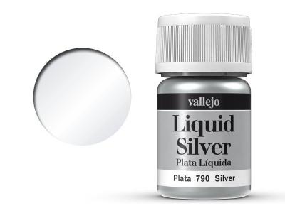 Vallejo Liquid Gold, 70.790, Металлик Серебро, 35 мл