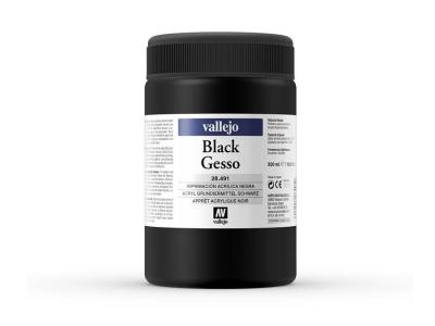 Vallejo Black Gesso, 28.491, Густой чёрный грунт, 500 мл