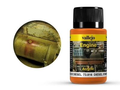 Vallejo Engine Diesel Stains, 73.816, следы дизельного топлива, 40 мл