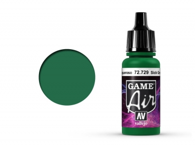 Vallejo Game Air, 72.729, Sick Green, Болезненно-зелёный, 17 мл