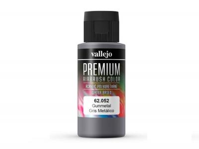 Vallejo Premium AirBrush Color, 62.052, Тёмно-серый металлик, 60 мл