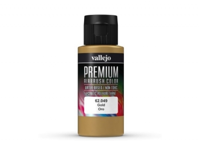 Vallejo Premium AirBrush Color, 62.049, Золото, 60 мл