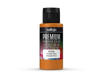 Vallejo Premium AirBrush Color, 62.033, Оранжевый Флюр, 60 мл