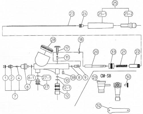 Схема аэрографа Iwata CM-C-