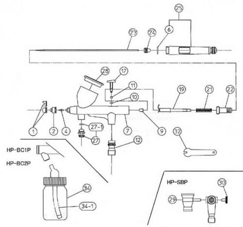 Схема аэрографа Iwata HP-SB-